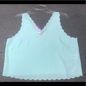 Jr.'s Large Mint Green Scalloped Crop Top NWT